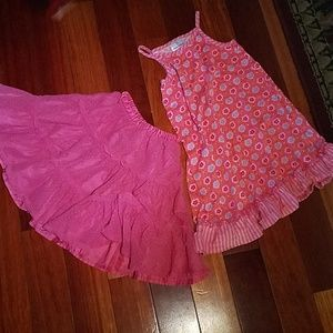 Hanna Anderson size 110 dress and skirt set